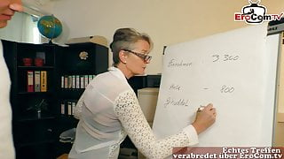 german mature woman secretary seduced younger guy in office