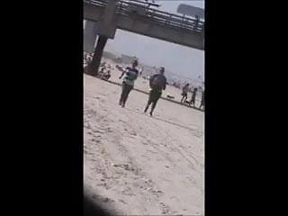 Milfs tit fucking Double latina milfs tit jiggle jogging on beach 29