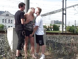 Guy fucking his moms friend A teen guy fucking his friend mother in public by a railway