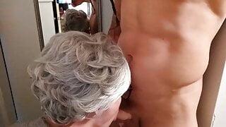 Skinny granny in robe deepthroats dick, POV