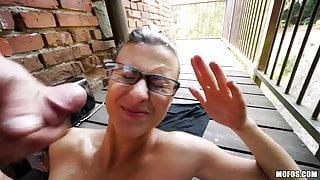 Amazing Slut In Glasses Gets A Deck Facial