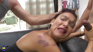 Kinky French MILF fucked by two boys in all holes