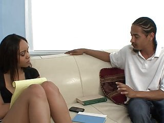 Cute girl black cock - Cute black girl blows black cock on the sofa