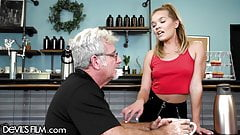 The Waitress Has Her Tight Pussy Destroyed By An Old Perv