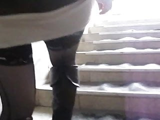 Black girl fucked leather boots video - Black leather boots and stockings upskirt