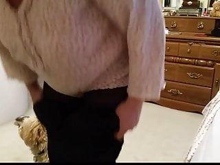 Black bbw pantyhose Black girdle over her big tits nipples, black pantyhose