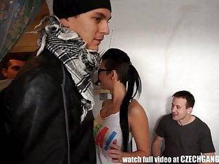 Her first teenage gangbang Busty czech girl enjoys her first gangbang