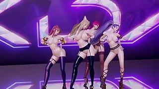 R18-MMD Stellar - Marionette KDA Girls Nude Dance