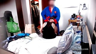 stepmom maid folds clothes while she blows a cock