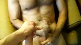 Guys wank together and cum