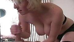 Great handjob from busty blonde wife in hot handjob vid 2