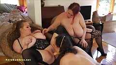 Two huge tits women being face fucked