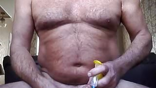 pushing a hypodermic needle into my ball bag