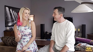DADDY4K. Daddy fucks mouth and pussy of brilliant sons gf