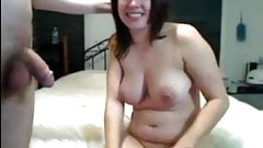 Horny Chubby Sucking cock, fucking and gets a creampie-1