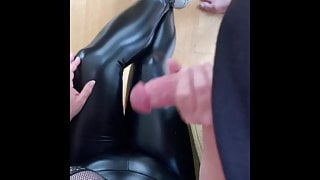Sexy legged wife in leggings and heels makes Hubby cum