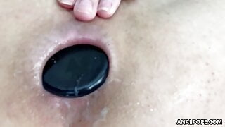 Huge cock slips into Gia's gaping asshole