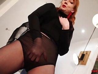Like red bull xxx Redhead red xxx solo play in nylons and lingerie
