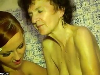 Pussy old granny Young girl and old granny have fun in bathroom