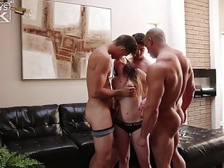 Muscle men in thong tgp - Two handsome muscle men give girl threesome of her dream