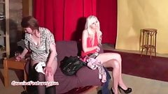 Busty chick and two sexy teens show their pussies at casting