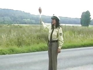 Hardcore off road Hairy milf policewoman fuck drivers off the road