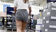 Sexy thick cellulite thigh pawg in short shorts jiggly ass