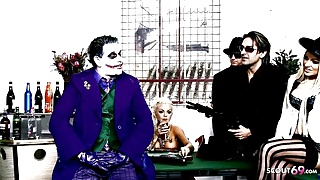 The Joker Porn Parody Group Sex with 4 perfect Teen Girls