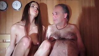 60yo man with 19yo girl in sauna