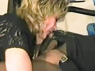 Slut wife fucks black cock - Blond slut in brown stockings fucks black cock