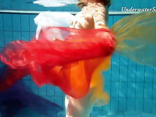 B swim bikini - Edwiga teen russian swims in clothes at night