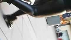 Hot ebony w a very nice juicy leather leggings ass