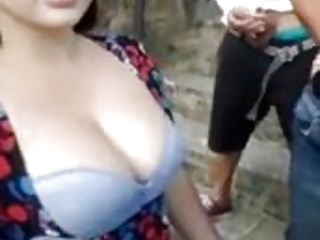 Busty girl outdoors Busty girl ready for gangbang