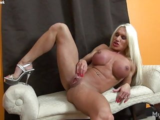 Pictures of female porn stars Naked female bodybuilder porn star strokes her huge clit