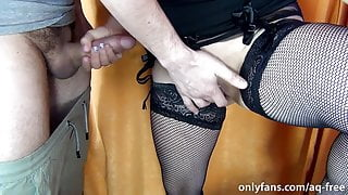 Stranger in the Dressing Room asked for cum on pussy! Milking