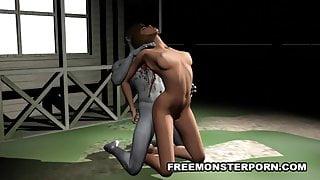Busty 3D Babe Fucks a Zombie Outdoors