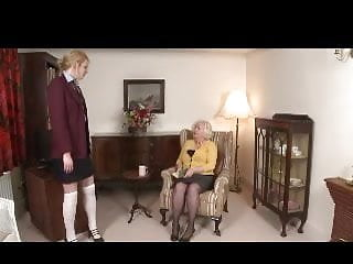 Over knee spank to orgasm - Domme granny spanks girl over her knee