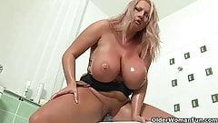 Mature soccer mom with big tits fucks a dildo
