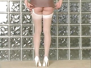Milf garter belt story - Blonde poses in white garter belt and heels