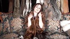 Tereza Ilova relaxes in the fur lounge
