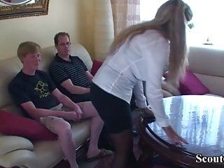 Mom seduces cock - German step son and friend seduce mom to get first fuck