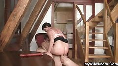 Horny mom fucks her daughter's BF