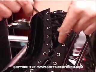 Amateur bondage corset glamour nylon Laced corset slave