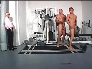 Shaved gay men Blonde girl catches men having gay sex in the gym