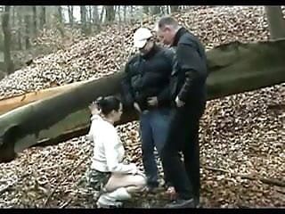Older men in porn Horny slut fucked by 2 older men in forest