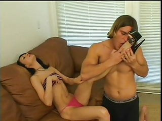Pretty footjob - Skinny brunette gives footjob and get cum on her pretty feet