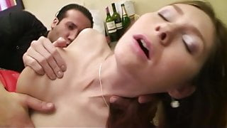 Kathie licked and fucked by 2 guys at home