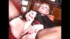 Hot granny in lingerie pissing and masturbating