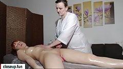 Fake massage redhead girl