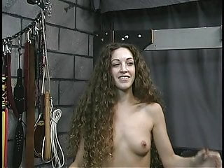 Perky small breasts Long-haired brunette with perky small tits gets a hiding from old dude